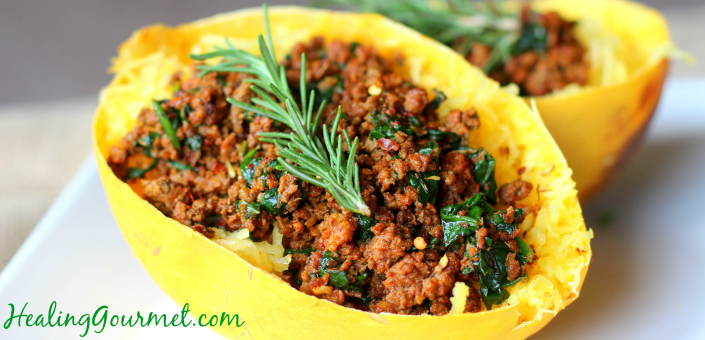 Smoky Bison Stuffed Spaghetti Squash (Paleo + Low Carb)