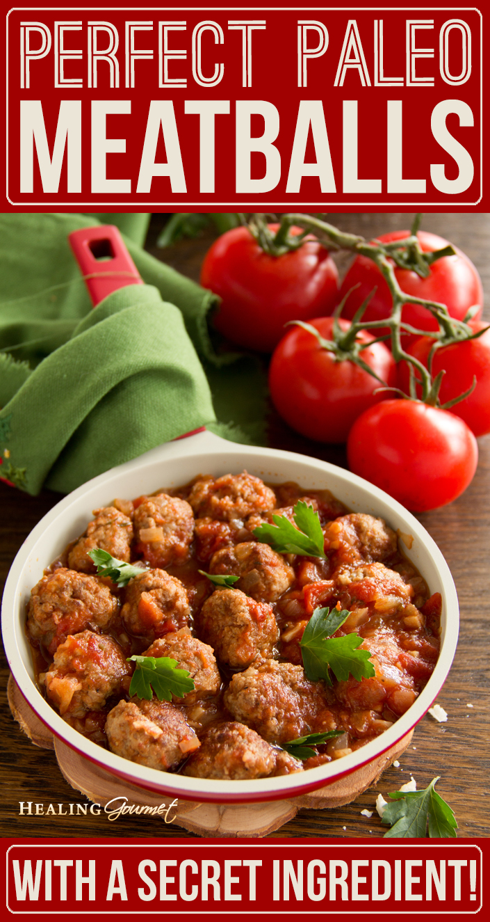 """Do you know the """"secret ingredient"""" for making perfect Paleo Meatballs? Check out our no fail recipe for authentic tasting meatballs... without the grain!"""
